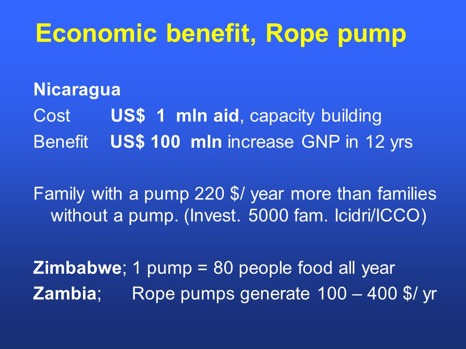 Economic benefit, Rope pump Nicaragua Cost US$ 1 mln aid, capacity building Benefit US$ 100 mln increase GNP in 12 yrs Family with a pump 220 $/ year more than families without a pump.