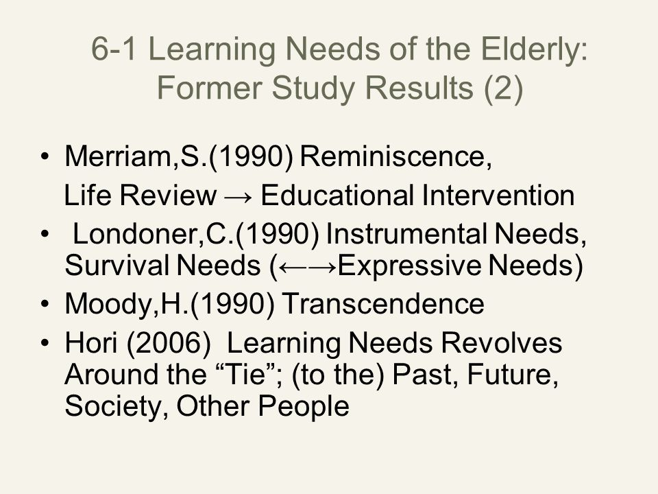 6-1 Learning Needs of the Elderly: Former Study Results (2) Merriam,S.(1990) Reminiscence, Life Review → Educational Intervention Londoner,C.(1990) Instrumental Needs, Survival Needs (←→Expressive Needs) Moody,H.(1990) Transcendence Hori (2006) Learning Needs Revolves Around the Tie ; (to the) Past, Future, Society, Other People