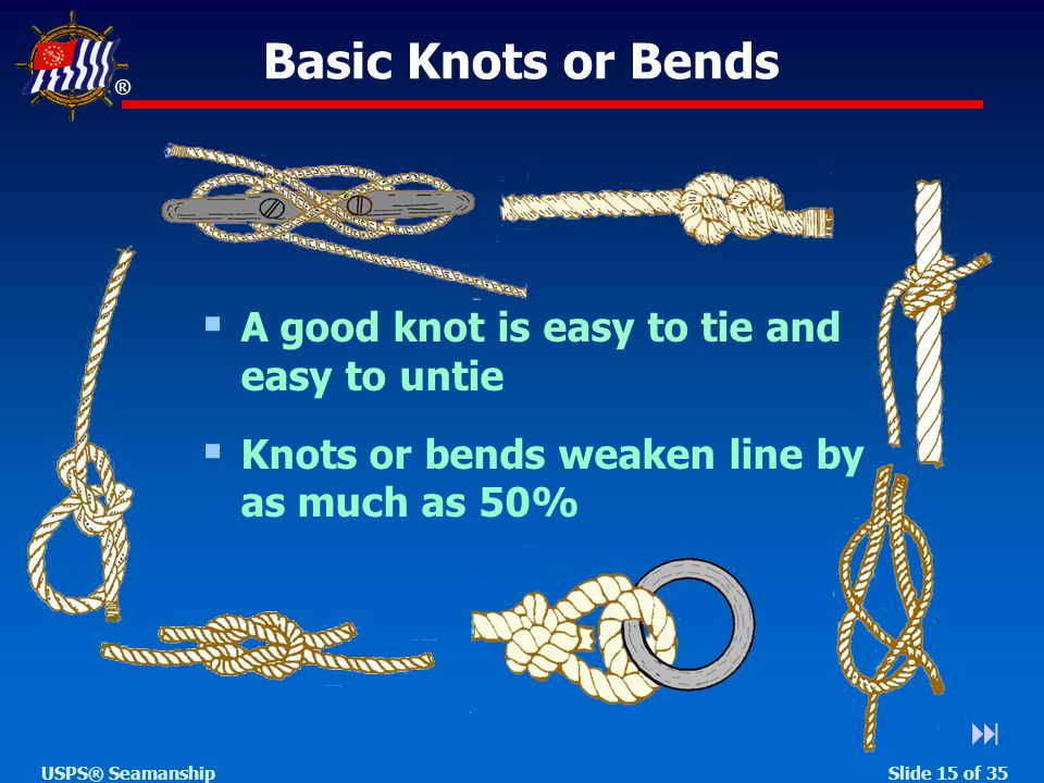 ® Slide 15 of 35USPS® Seamanship Basic Knots or Bends   A good knot is easy to tie and easy to untie  Knots or bends weaken line by as much as 50%