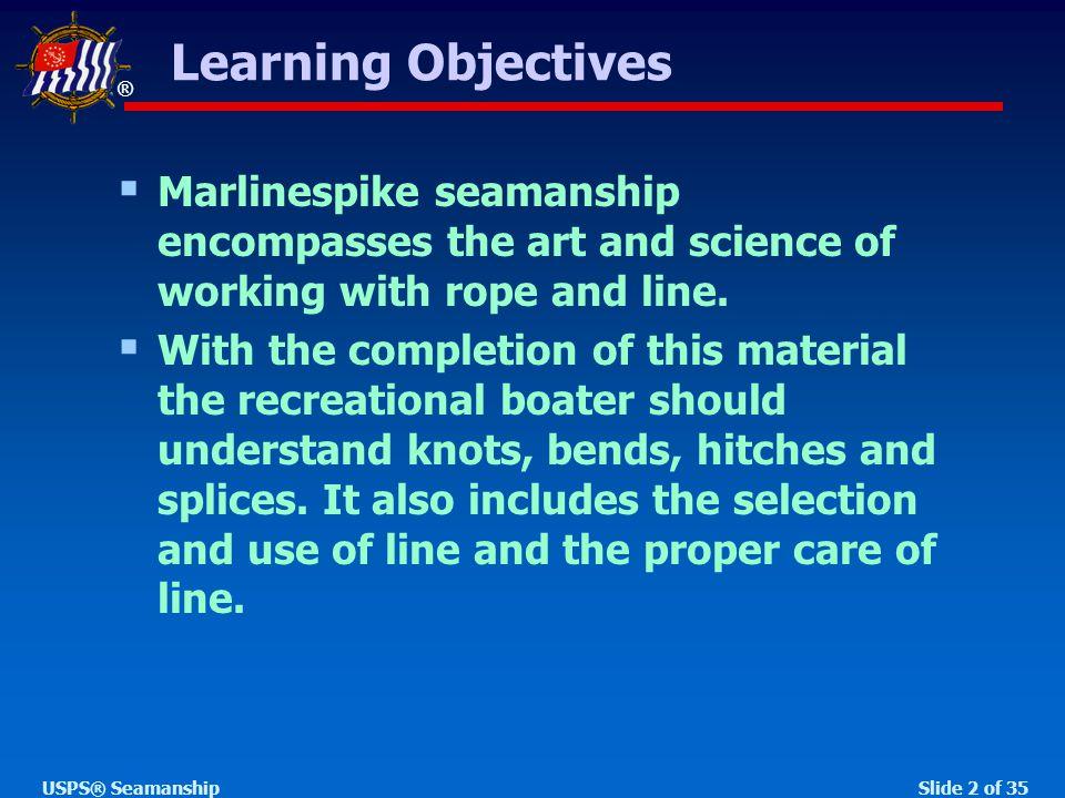 ® Slide 33 of 35USPS® Seamanship  Step 4 A B C b c a Making an Eye Splice A B C b c a  Step 3