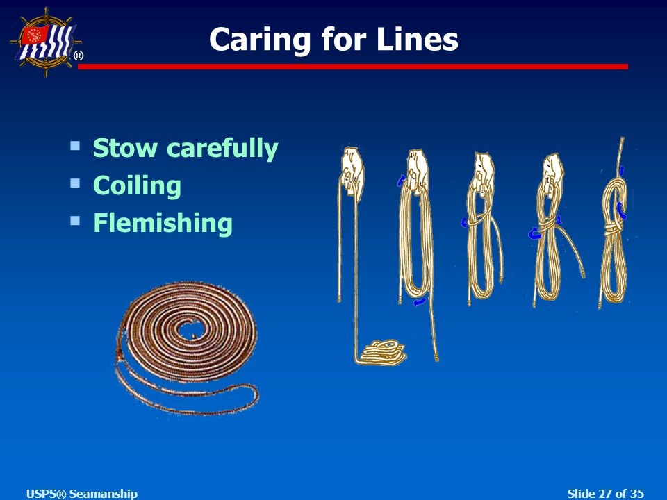 ® Slide 27 of 35USPS® Seamanship  Stow carefully  Coiling  Flemishing Caring for Lines