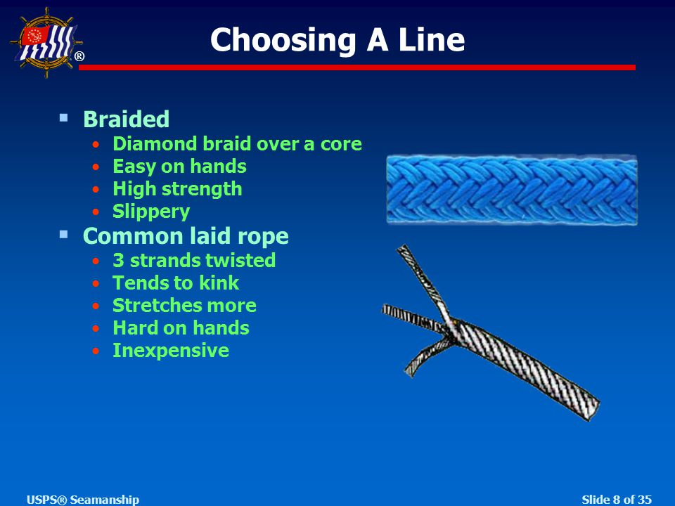 ® Slide 8 of 35USPS® Seamanship  Braided Diamond braid over a core Easy on hands High strength Slippery  Common laid rope 3 strands twisted Tends to kink Stretches more Hard on hands Inexpensive Choosing A Line