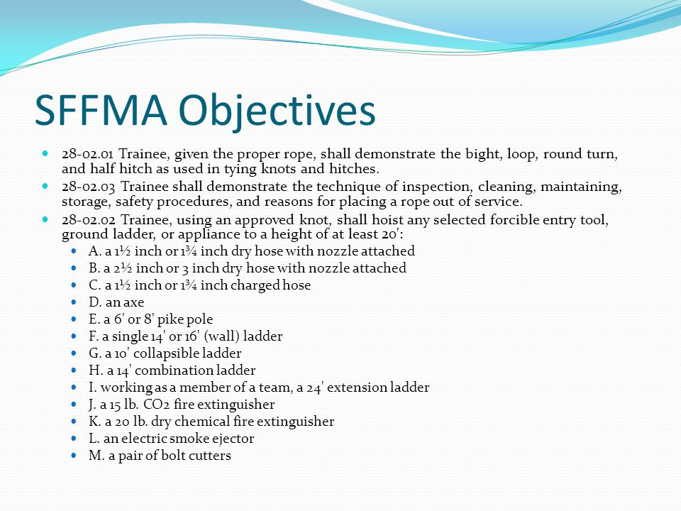 SFFMA Objectives 28-02.01 Trainee, given the proper rope, shall demonstrate the bight, loop, round turn, and half hitch as used in tying knots and hitches.