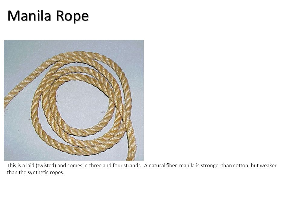 Manila Rope This is a laid (twisted) and comes in three and four strands.