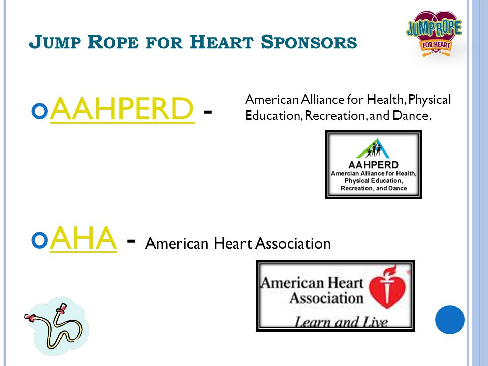 J UMP R OPE FOR H EART S PONSORS AAHPERDAAHPERD - AHAAHA - American Heart Association American Alliance for Health, Physical Education, Recreation, and Dance.