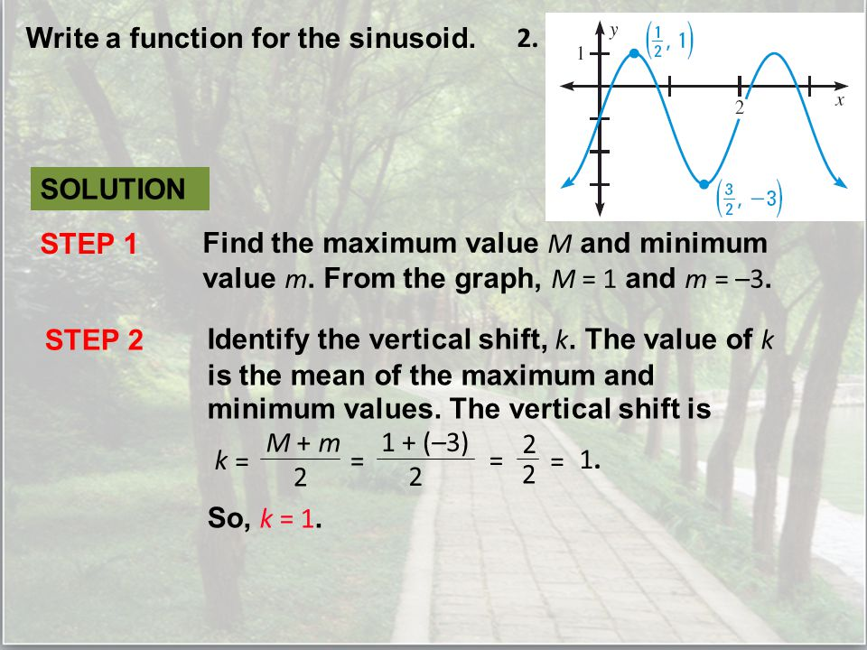 Write a function for the sinusoid. 2.
