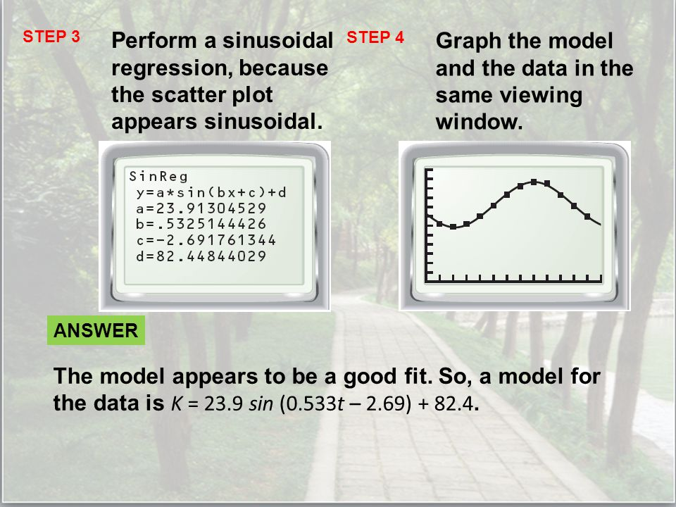 STEP 3 Perform a sinusoidal regression, because the scatter plot appears sinusoidal.