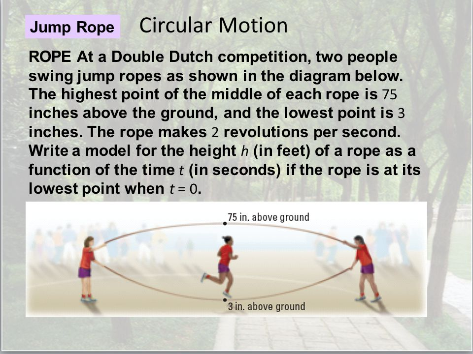 Circular Motion Jump Rope ROPE At a Double Dutch competition, two people swing jump ropes as shown in the diagram below.