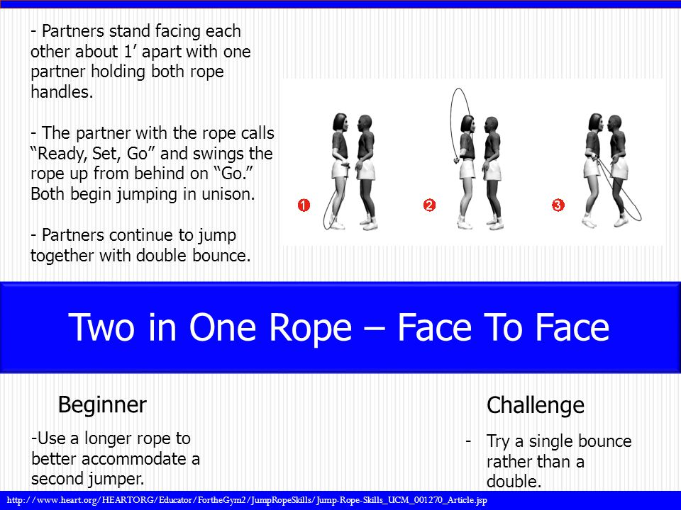 - Partners stand facing each other about 1' apart with one partner holding both rope handles.