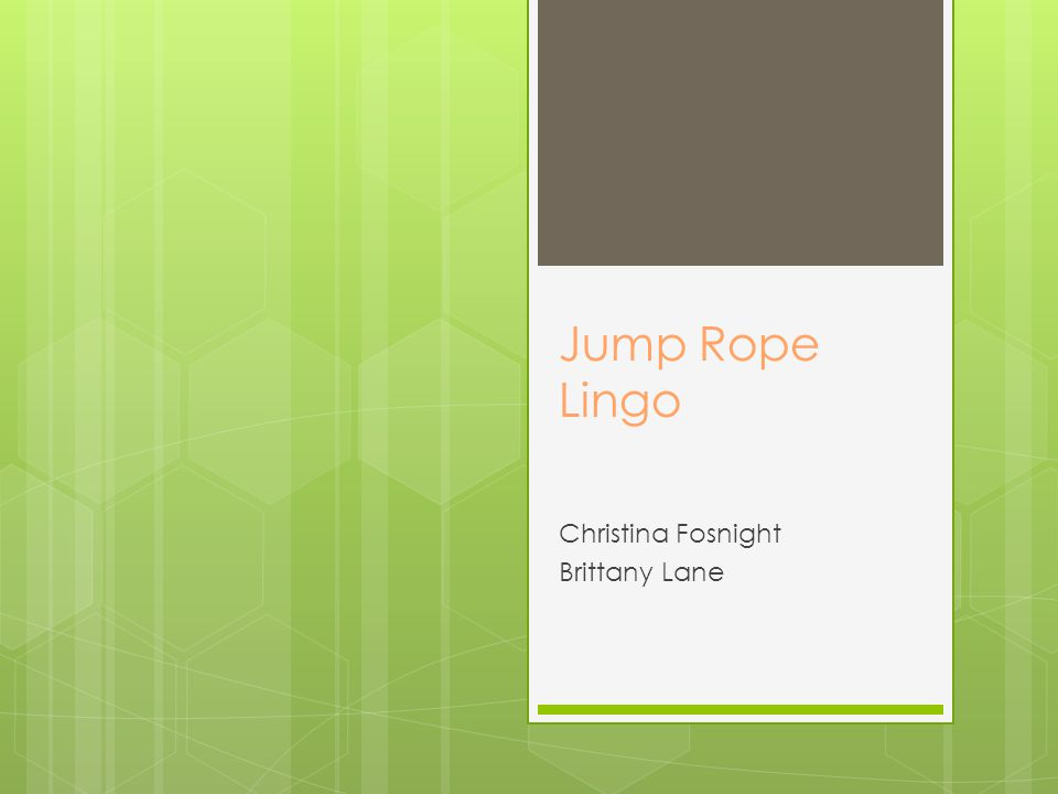 Jump Rope Lingo Christina Fosnight Brittany Lane