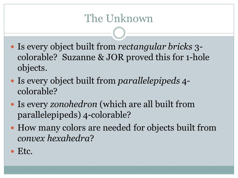 The Unknown Is every object built from rectangular bricks 3- colorable.