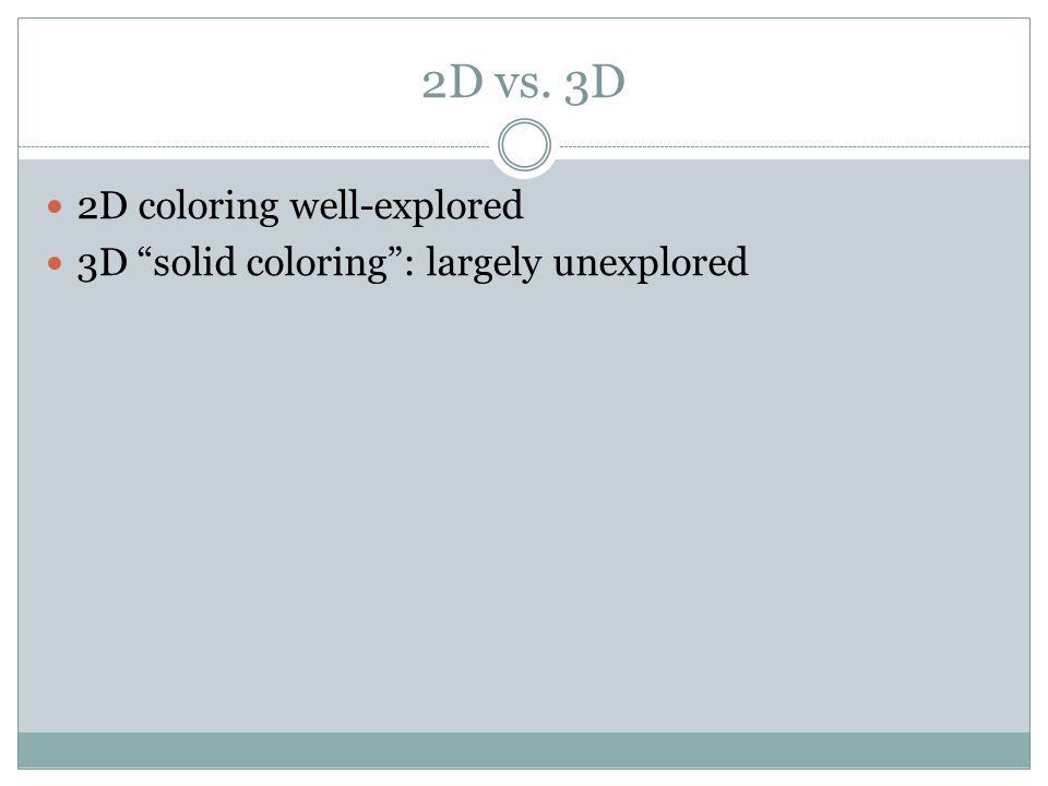 2D vs. 3D 2D coloring well-explored 3D solid coloring : largely unexplored