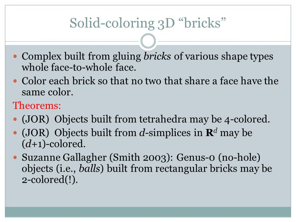 Solid-coloring 3D bricks Complex built from gluing bricks of various shape types whole face-to-whole face.