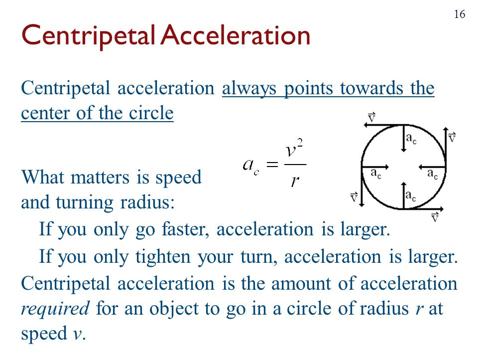 Centripetal acceleration always points towards the center of the circle What matters is speed and turning radius: If you only go faster, acceleration