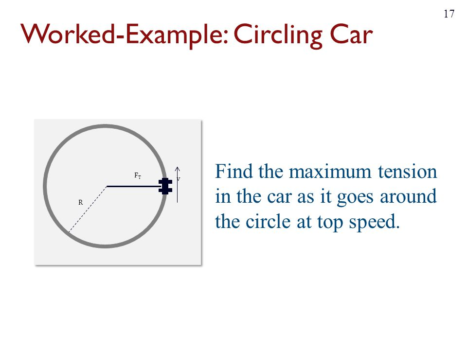 Worked-Example: Circling Car Find the maximum tension in the car as it goes around the circle at top speed. 17 v FTFT R