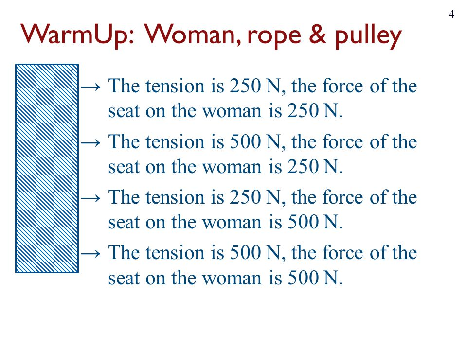 WarmUp: Woman, rope & pulley ~17% →The tension is 250 N, the force of the seat on the woman is 250 N. ~17% →The tension is 500 N, the force of the sea
