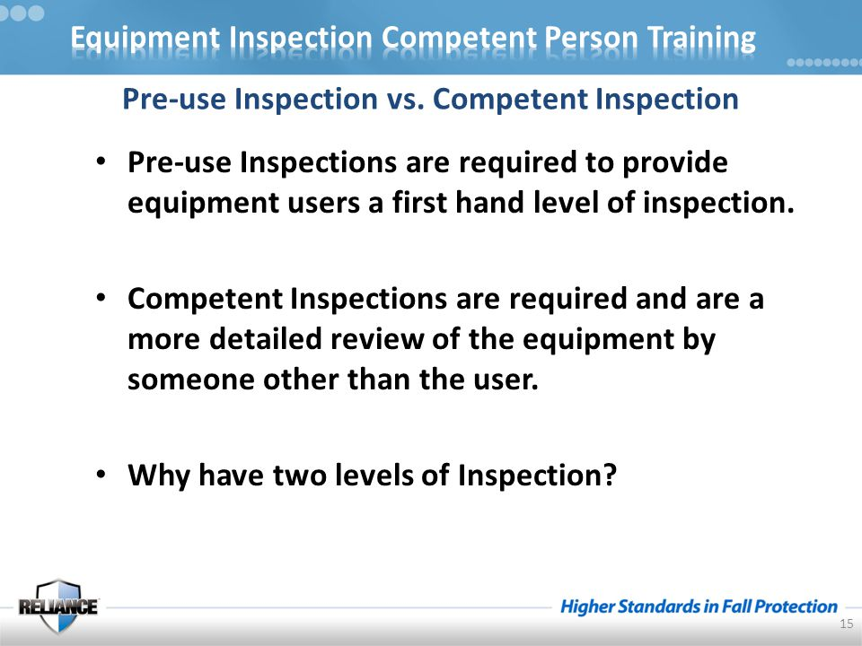 Pre-use Inspection vs.