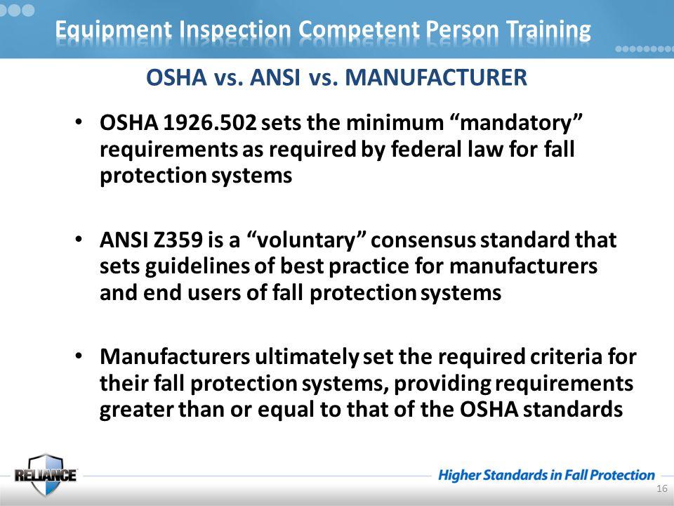 OSHA vs. ANSI vs.