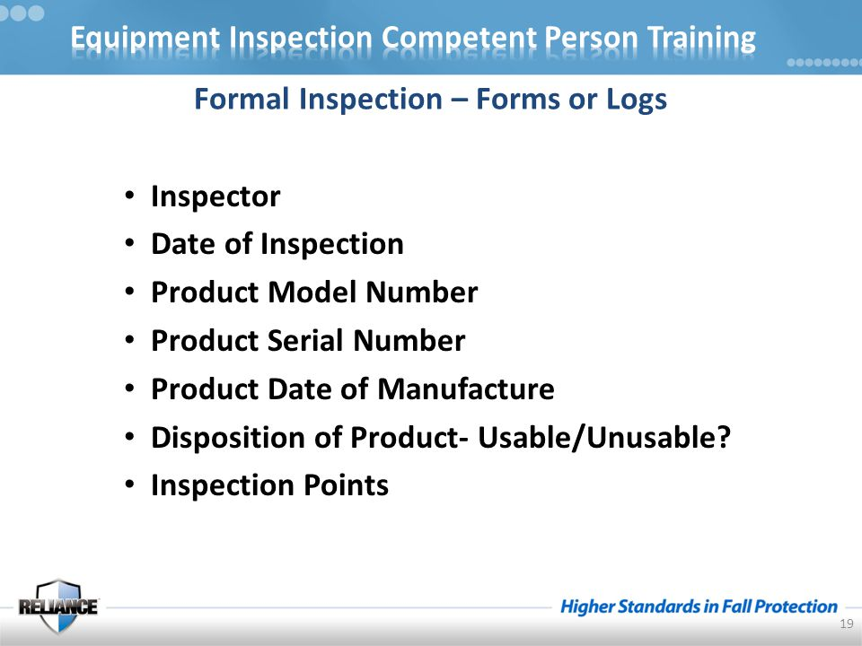 19 Formal Inspection – Forms or Logs Inspector Date of Inspection Product Model Number Product Serial Number Product Date of Manufacture Disposition of Product- Usable/Unusable.