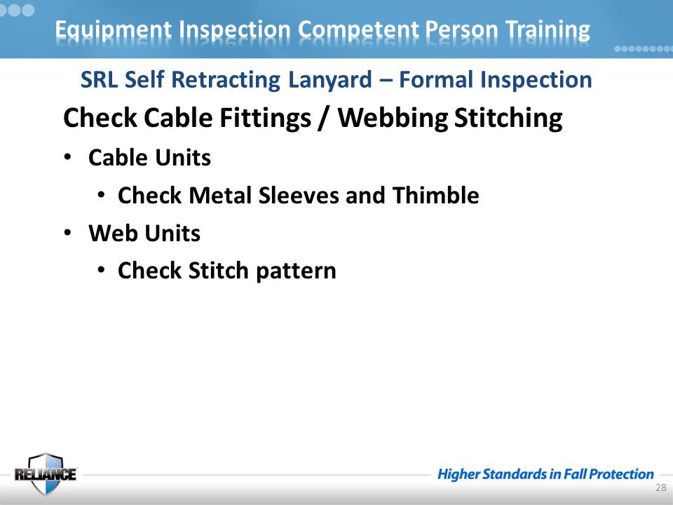 Check Cable Fittings / Webbing Stitching Cable Units Check Metal Sleeves and Thimble Web Units Check Stitch pattern 28 SRL Self Retracting Lanyard – Formal Inspection