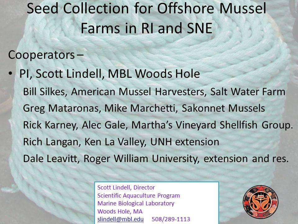 Scott Lindell, Director Scientific Aquaculture Program Marine Biological Laboratory Woods Hole, MA slindell@mbl.eduslindell@mbl.edu 508/289-1113 Seed