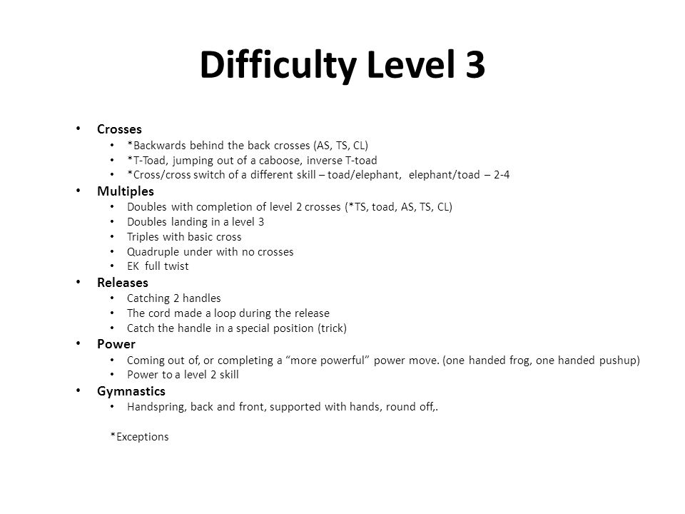 Difficulty Level 3 Crosses *Backwards behind the back crosses (AS, TS, CL) *T-Toad, jumping out of a caboose, inverse T-toad *Cross/cross switch of a