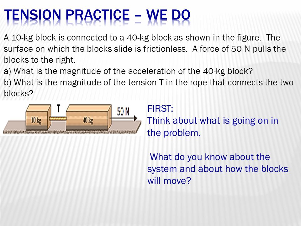 A 10-kg block is connected to a 40-kg block as shown in the figure.
