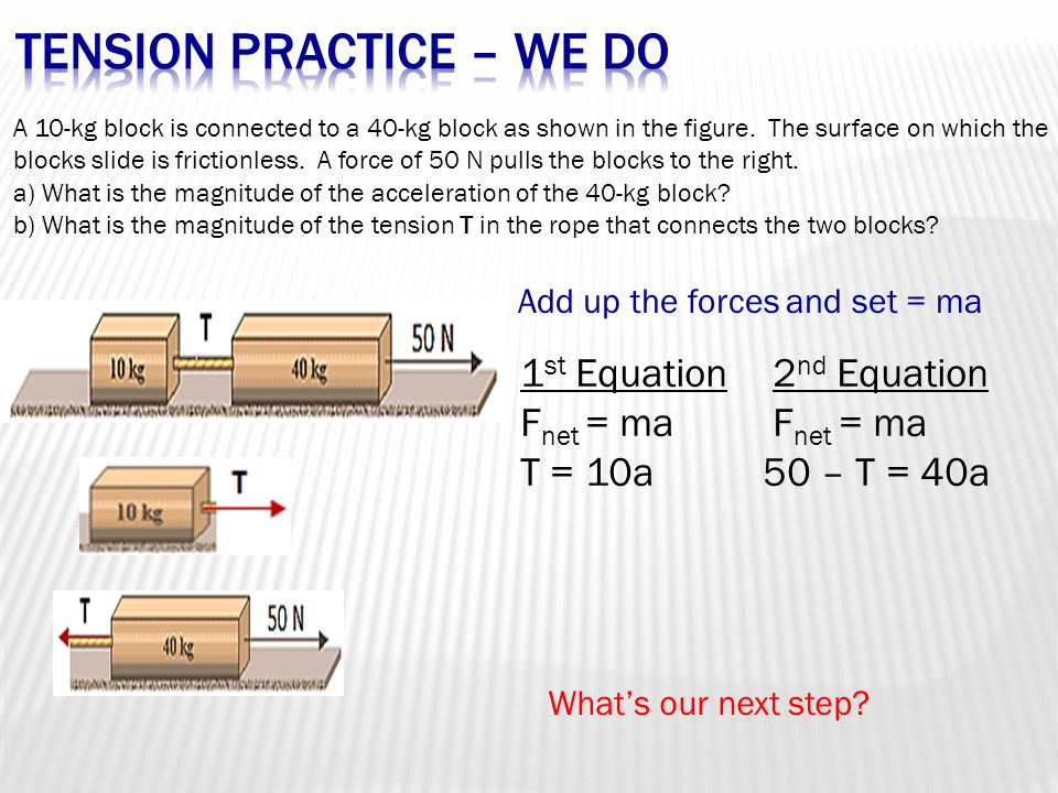 A 10-kg block is connected to a 40-kg block as shown in the figure. The surface on which the blocks slide is frictionless. A force of 50 N pulls the b
