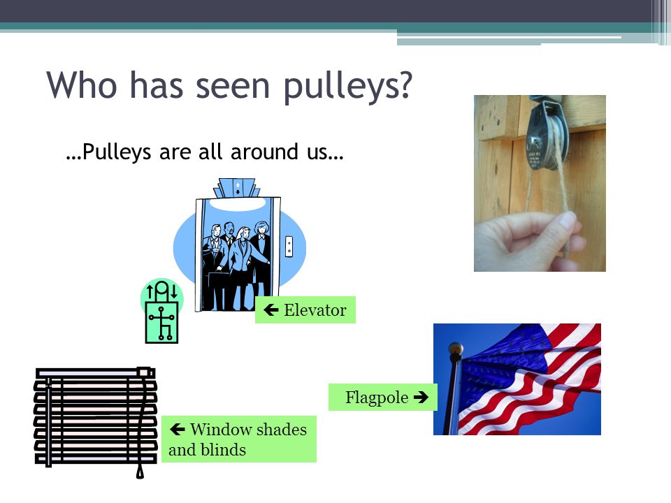 Who has seen pulleys? …Pulleys are all around us… Flagpole   Elevator  Window shades and blinds
