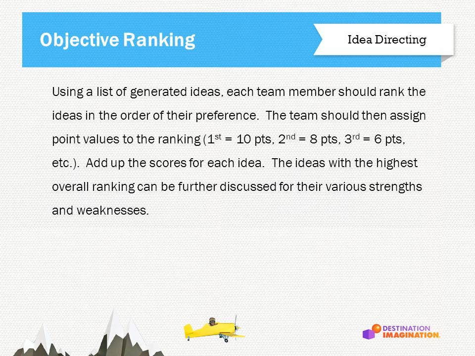 Using a list of generated ideas, each team member should rank the ideas in the order of their preference.