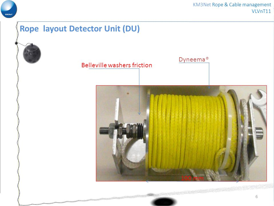 Belleville washers friction Dyneema® 100 mm 6 KM3Net Rope & Cable management VLVnT11 Rope layout Detector Unit (DU)