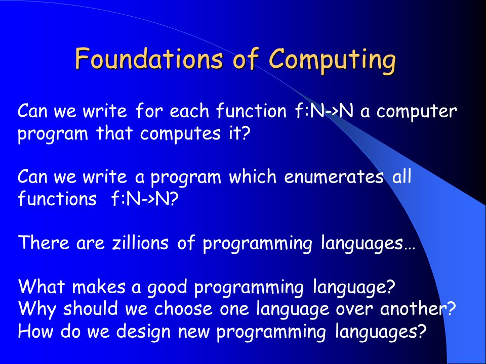 Foundations of Computing Can we write for each function f:N->N a computer program that computes it.