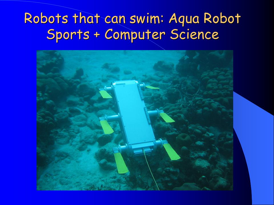 Robots that can swim: Aqua Robot Sports + Computer Science Rhex http://www.rhex.net/