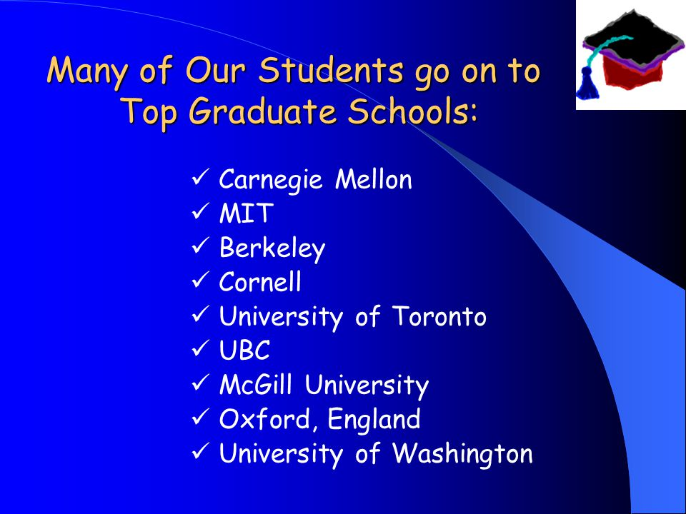 Many of Our Students go on to Top Graduate Schools: Carnegie Mellon MIT Berkeley Cornell University of Toronto UBC McGill University Oxford, England University of Washington