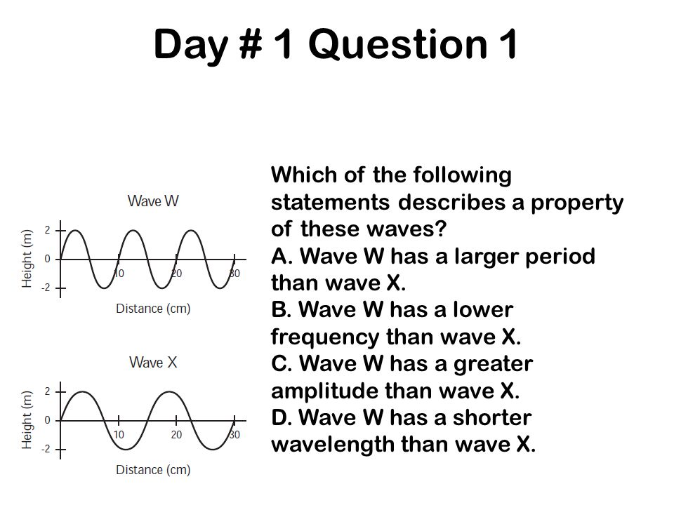 Day # 1 Question 1 Which of the following statements describes a property of these waves? A. Wave W has a larger period than wave X. B. Wave W has a l