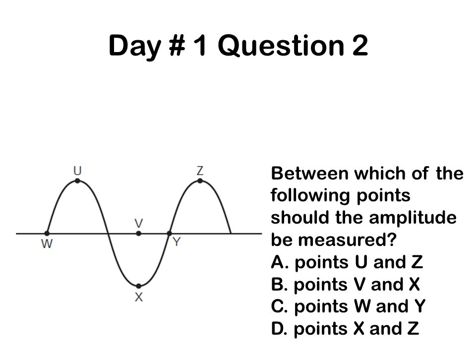 Day # 1 Question 2 Between which of the following points should the amplitude be measured? A. points U and Z B. points V and X C. points W and Y D. po