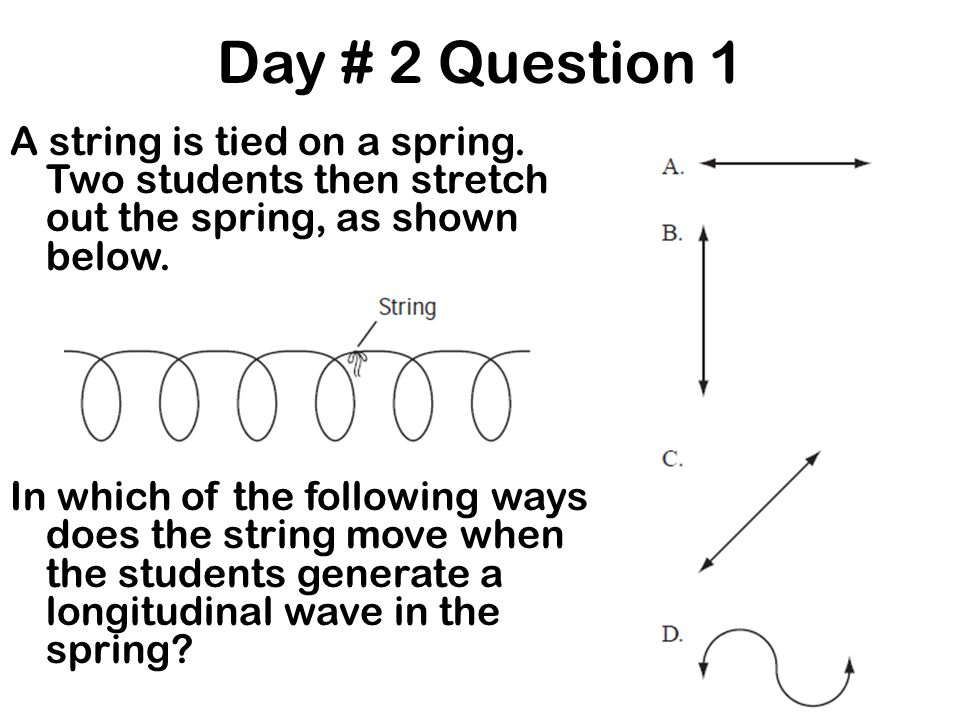 Day # 2 Question 1 A string is tied on a spring. Two students then stretch out the spring, as shown below. In which of the following ways does the str