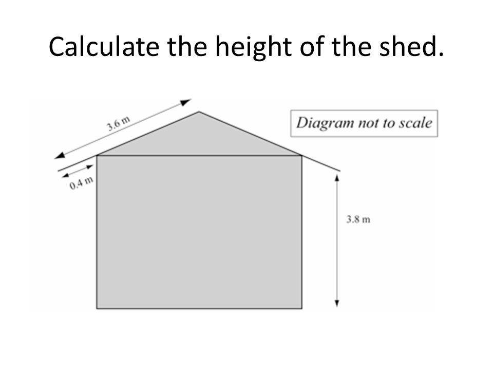 Calculate the height of the shed.