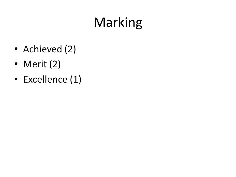Marking Achieved (2) Merit (2) Excellence (1)