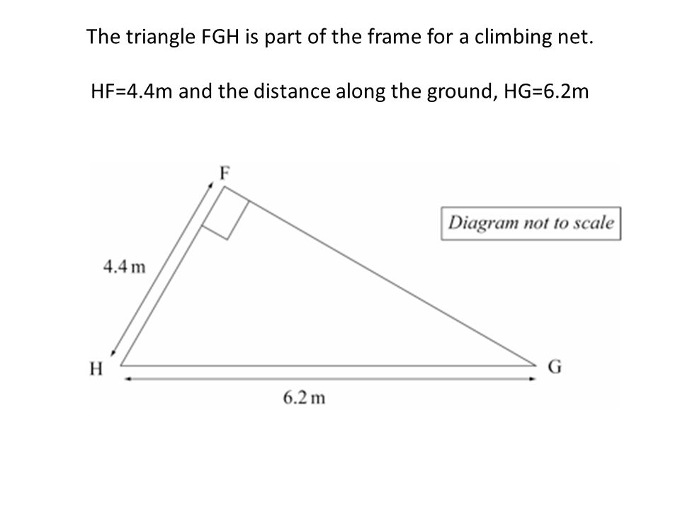 The triangle FGH is part of the frame for a climbing net. HF=4.4m and the distance along the ground, HG=6.2m