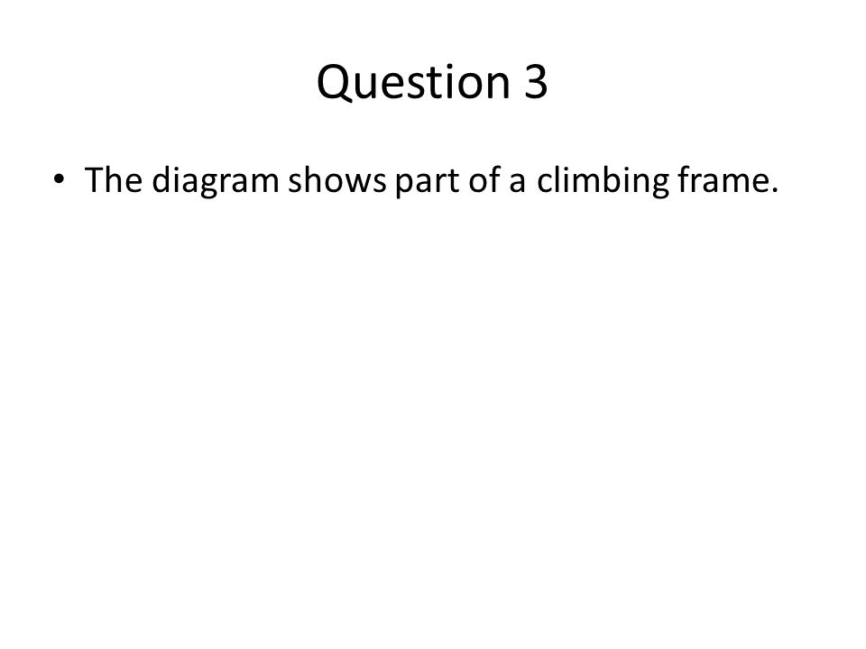 Question 3 The diagram shows part of a climbing frame.