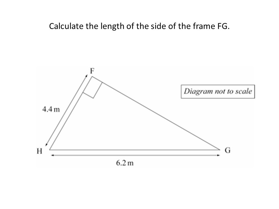 Calculate the length of the side of the frame FG.
