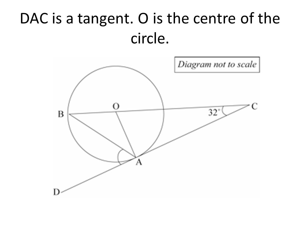 DAC is a tangent. O is the centre of the circle.
