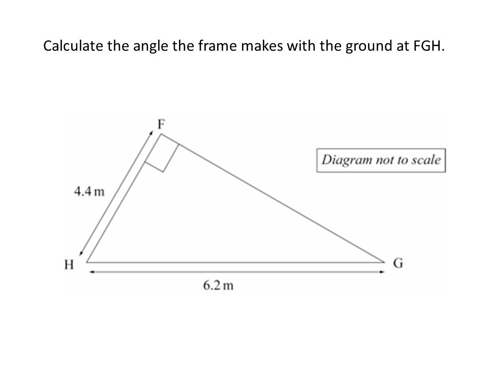 Calculate the angle the frame makes with the ground at FGH.