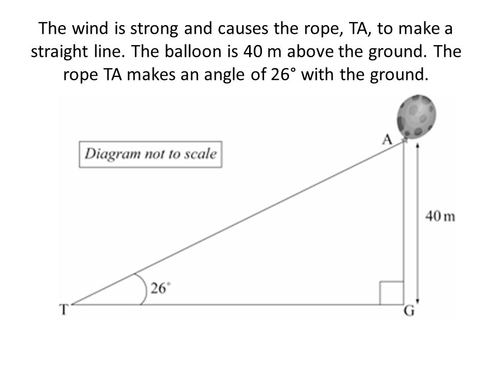 The wind is strong and causes the rope, TA, to make a straight line. The balloon is 40 m above the ground. The rope TA makes an angle of 26° with the