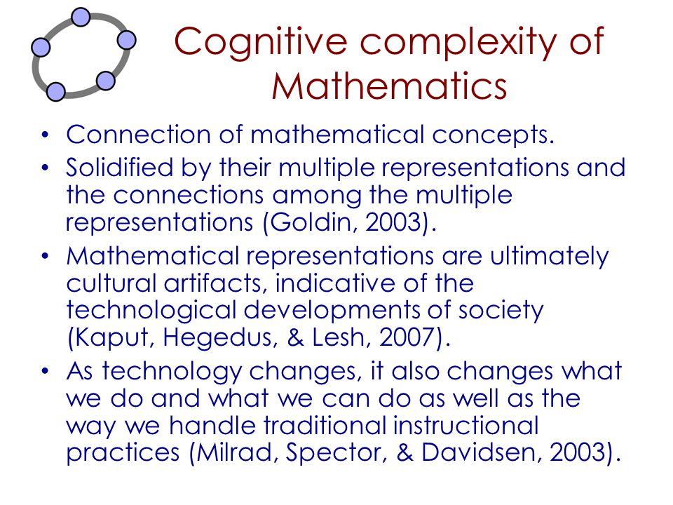 Cognitive complexity of Mathematics Connection of mathematical concepts. Solidified by their multiple representations and the connections among the mu
