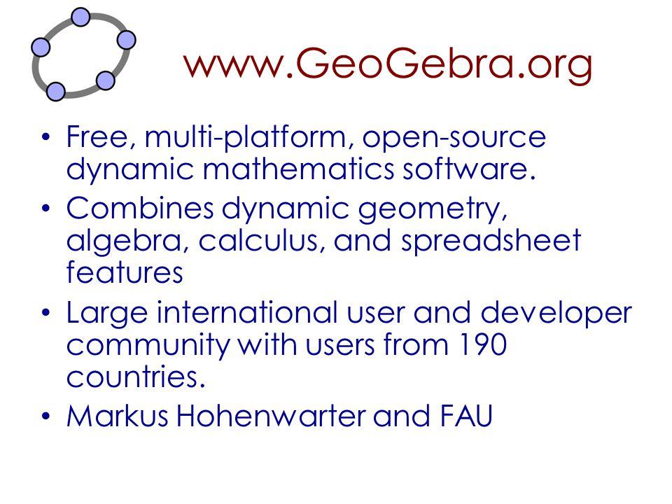 www.GeoGebra.org Free, multi-platform, open-source dynamic mathematics software. Combines dynamic geometry, algebra, calculus, and spreadsheet feature