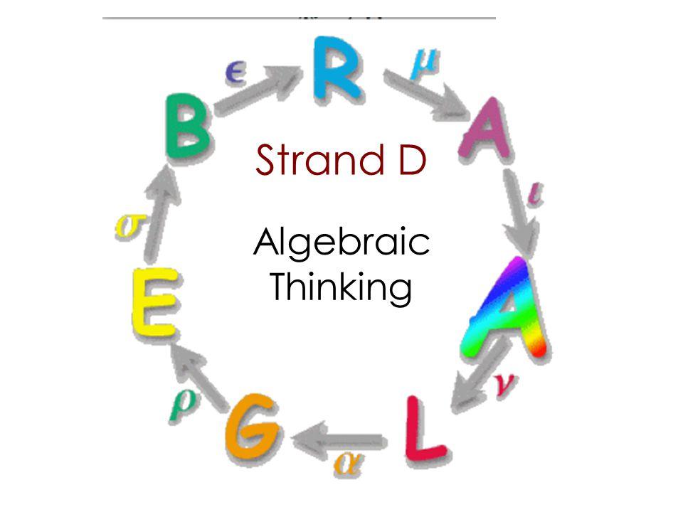 Strand D Algebraic Thinking