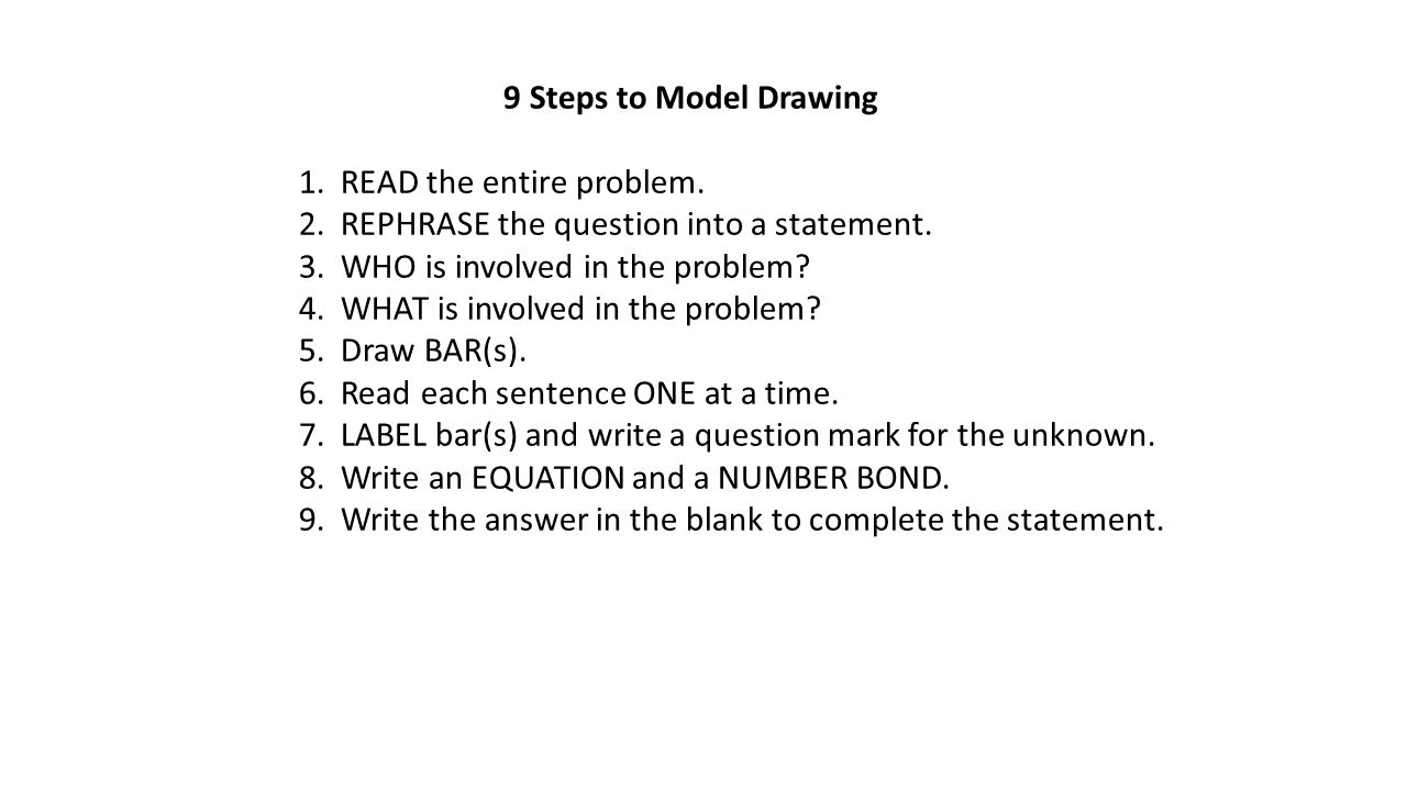 9 Steps to Model Drawing 1. READ the entire problem. 2. REPHRASE the question into a statement. 3. WHO is involved in the problem? 4. WHAT is involved