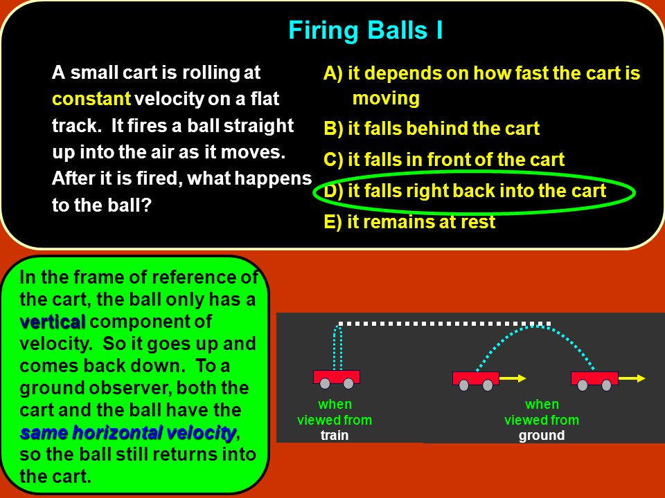 6.Firing Balls I 6. Firing Balls I A small cart is rolling at constant velocity on a flat track. It fires a ball straight up into the air as it moves.